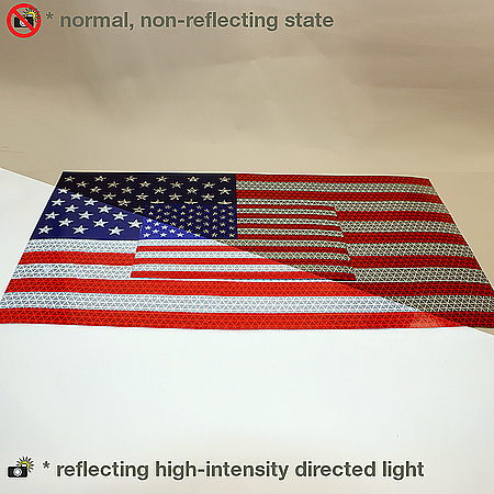 Oralite (Reflexite) American Flags Microprismatic Retroreflective Sticker Decals