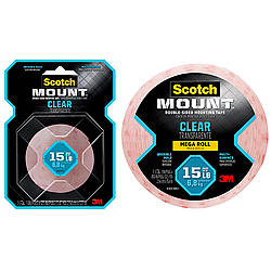 3M Scotch Clear Scotch-Mount Double-Sided Mounting Tape, Strips & Squares