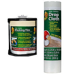 Duck Brand Pre-Taped Drop Cloth [Plastic Sheeting / Removable Cloth Tape]