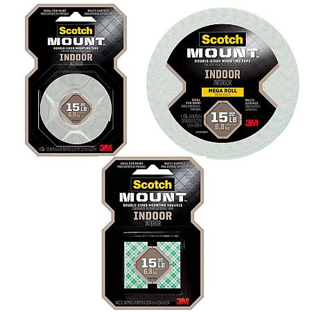 3M Scotch Indoor Scotch-Mount Double-Sided Mounting Tape & Squares