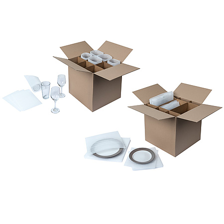 Duck Brand Dish & Glass Kits Corrugated Dividers & Foam Pouches [Outer Box Not Included]
